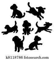 set of cute puppies - silhouette illustration