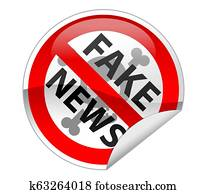 Fake News Hoax Warning Sticker Label Prohibit Sign