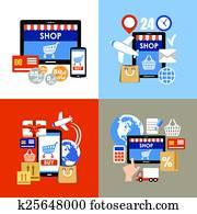 Internet shopping, e-commerce, online shopping set.