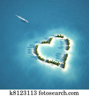 paradise heart shaped island
