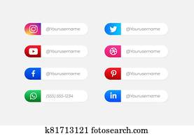 Social Media Icons vector with user name