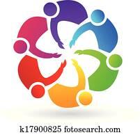 Teamwork handshaking logo