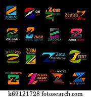 Z icons corporate identity colorful trendy design