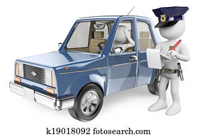 3D white people. Police imposing a fine on a driver