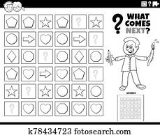 fill the pattern game for children coloring book page