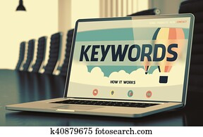 Landing Page of Laptop with Keywords Concept. 3D.