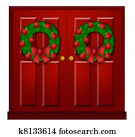 Red Door with Christmas Wreath Illustration