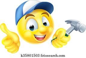 Carpenter Emoji Emoticon with Hammer