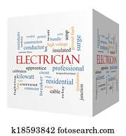 Electrician 3D cube Word Cloud Concept
