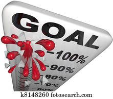 Percentage Progress to Goals Thermometer Growth Success