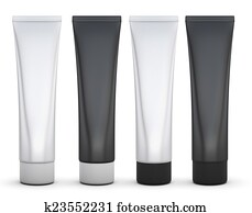 Set of black and white packing for cream