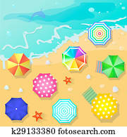 Summer beach in flat design style. Shell and towel, starfish ,summertime, relaxation summer tourism, illustration