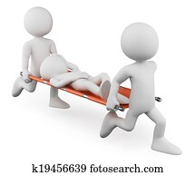 3D white people. Doctors carrying an injured on a stretcher