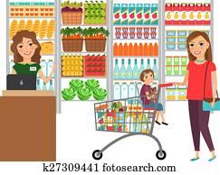 frau- einkaufen, in, lebensmittelgesch?ft