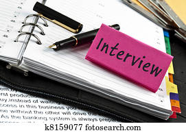 Interview note on agenda and pen