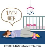 Postnatal depression illustration