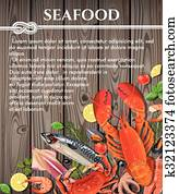 Seafood on wooden background
