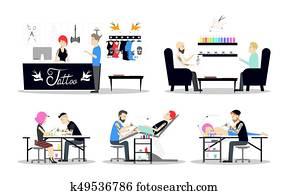 tragen, segeltuch, sittting, künstler, zeichen, baskenmütze, abbildung, vektor, lackierer, stuhl, mann, gemälde, lächeln, rotes