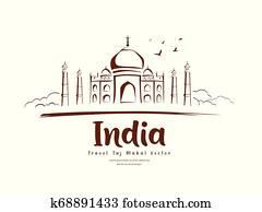 Travel Taj Mahal India vector, sketching