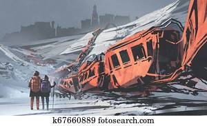 two hikers walking through a train wrecked