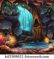 Vector cartoon illustration of a magical waterfall