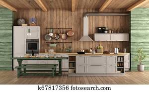 White and green retro kitchen