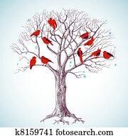 Winter tree and singing birds