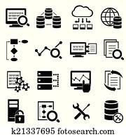 Big data, cloud computing and technology icons