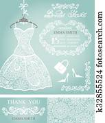 Bridal shower invitation set. Winter wedding, lace dress