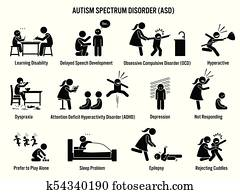 Children Autism Spectrum Disorder ASD Icons.
