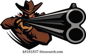 Cowboy Mascot Aiming Shotgun Vector