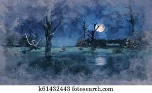 Creepy dead trees on night swamp watercolor sketch