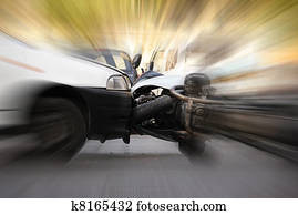 detail of an accident between car and motorcycle
