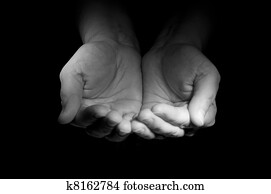 Hands ask the charity from foto watcher