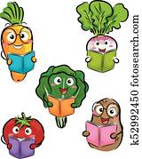 Mascot Vegetables Books Illustration