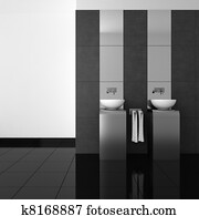 modern bathroom with black floor