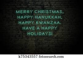 Neon inscription of christmas and new year greetings on brick wall