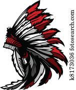 amerikanisch, eingeborener indianer, feder, kopf