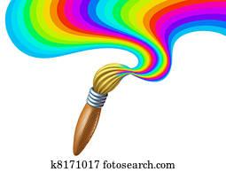 Art brush with rainbow paint swirl