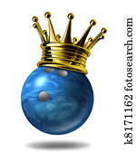 Bowling king champion with gold crown