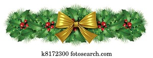 Christmas Gold bow border decoration