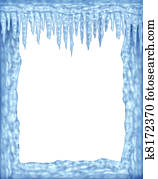 Frozen frame of icicles and ice with white blank area