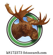 Moose Head Antlers Forest Icon Symbol