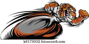Racing Tiger Mascot Graphic Vector