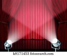 Spotlights on red velvet cinema curtains