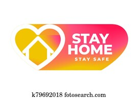 stay home and safe banner with color heart