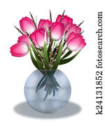 Tulips in a vase on white