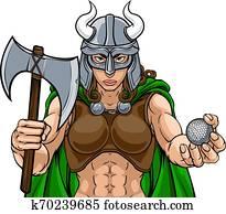 wickinger, weiblich, gladiator, golfen, krieger, frau