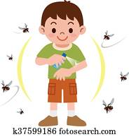Boy to spray insect repellent