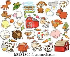 Farm Animal Vector Design Elements